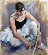 Ballet Dancers Paintings - Tying Her Shoes by Podi Lawrence