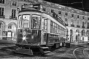 Black Commerce Art - Typical Lisbon tram in Commerce Square by Jose Elias - Sofia Pereira