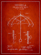 Umbrella Patent Drawing From 1912 Print by Aged Pixel