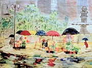 Rick Todaro Prints - Umbrellas and Flowers   Print by Rick Todaro