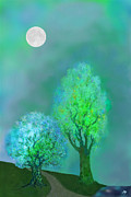 Nature Scene With Moon Digital Art Posters - unbordered DREAM TREES AT TWILIGHT Poster by Mathilde Vhargon