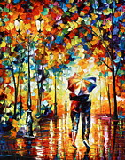Couple Painting Framed Prints - Under one umbrella Framed Print by Leonid Afremov