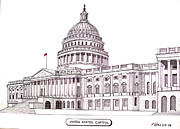 Buildings Drawings Drawings Framed Prints - United States Capitol Framed Print by Frederic Kohli