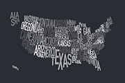 United States Map Framed Prints - United States Text Map Framed Print by Michael Tompsett