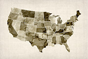 States Posters - United States Watercolor Map Poster by Michael Tompsett