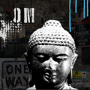 Blue Mixed Media - Urban Buddha  by Linda Woods