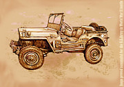 Charcoal Mixed Media - US Army Jeep in world war 2 - Stylised modern drawing art sketch by Kim Wang