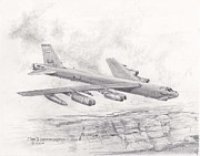 Bomber Drawings - USAF B-52 Stratofortress  by Jim Hubbard
