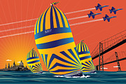 Regatta Prints - USNA Sunset Sail Print by Joe Barsin