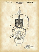 Parchment Framed Prints - Vacuum Tube Patent Framed Print by Stephen Younts