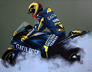 Athlete Painting Metal Prints - Valentino Rossi Metal Print by Paul  Meijering