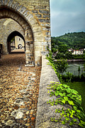 Cobblestone Prints - Valentre bridge in Cahors France Print by Elena Elisseeva