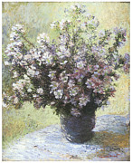Impressionism Framed Prints - Vase of Flowers Framed Print by Claude Monet