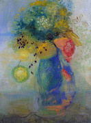 Still Lives Paintings - Vase of flowers by Odilon Redon