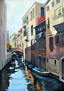 Italian Landscape Painting Originals - Venetian Channel by Filip Mihail