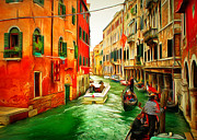 Gondolier Framed Prints - Venice Canals 5 Framed Print by Yury Malkov