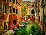 Gondolier Framed Prints - Venice Canals 6 Framed Print by Yury Malkov