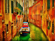 Gondolier Framed Prints - Venice Canals 7 Framed Print by Yury Malkov