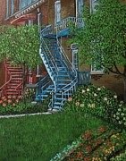 City Of Montreal Painting Posters - Verdun Stairs Poster by Reb Frost