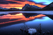Rundle Prints - Vermillion Lakes Mount Rundle Print by Mark Duffy