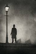 Behind The Scene Art - Victorian Man Standing Next To An Illuminated Gas Lamp by Lee Avison