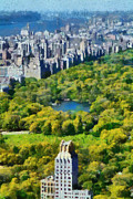 Central Park Paintings - View of Central park and Manhattan from Observation Deck at Rockefeller Center by George Atsametakis