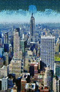 Empire State Building Paintings - View of Manhattan and Empire State Building from Observation Deck at Rockefeller Center by George Atsametakis