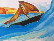 Wave Mixed Media - Viking Sailboat by Debbie Nester
