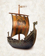 Cards Vintage Painting Prints - Viking Ship  Print by Danny Smythe