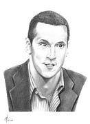 Famous People Drawings - Vincent Lecavalier by Murphy Elliott
