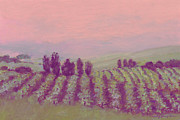 Viticulture Painting Prints - Vineyard at Dusk Print by J Reifsnyder