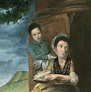 Clothed Figure Painting Posters - Vintage Mother and Son Poster by Mary Ellen Anderson