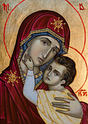 Byzantine Mixed Media - Virgin Mary and baby Jesus by Iconos Art