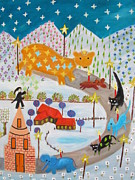 Visionary Artist Painting Originals - Visit of the Big Bear by Barbara Sala