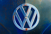 Car Photo Framed Prints - Volkswagen VW Bus Front Emblem Framed Print by Jill Reger