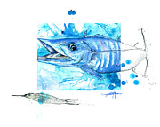 Lure Mixed Media Posters - Wahoo and Ballyhoo Poster by Amber M  Moran