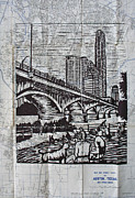 Linoleum Print Drawings - Waiting for the Bats by William Cauthern
