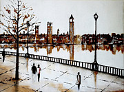 London Print Originals - Walk by the Thames by Indira Mukherji