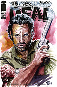 Walking Dead Paintings - Walking Dead Rick by Ken Meyer jr