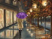Umbrella Digital Art Framed Prints - Walking Framed Print by Veronica Minozzi