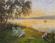 Hall Painting Prints - Walloon Lake Sunrise Print by Steve Haigh