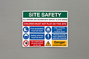 Industrial Background Posters - Warning Sign Poster by Tom Gowanlock