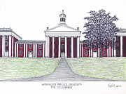 University Buildings Images Posters - Washington and Lee University Poster by Frederic Kohli