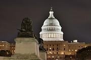 Clouds Prints - Washington DC - US Capitol - 01131 Print by DC Photographer