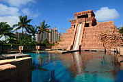 Leisure Photos - Water Slide at the Mayan Temple Atlantis Resort by Amy Cicconi