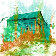Mountain Cabin Mixed Media Prints - Watercolor Cabin Print by Lisa Noneman