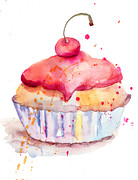 Menu Prints - Watercolor illustration of cake  Print by Regina Jershova