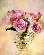 Painted Glass Prints - Watercolor Roses Print by Jessica Jenney