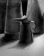 Rusty Drawings - Watering Cans by Satin Massey