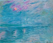 Blue Purple Paintings - Waterloo Bridge by Claude Monet